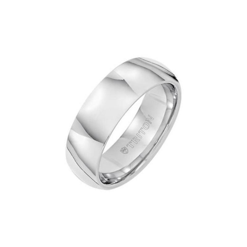 Triton 7mm White Tungsten Carbide Bright Polish Domed Comfort Fit Band 11-01-2127
