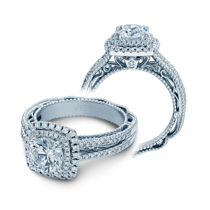 Verragio Double Halo Pave Diamond Engagement Ring