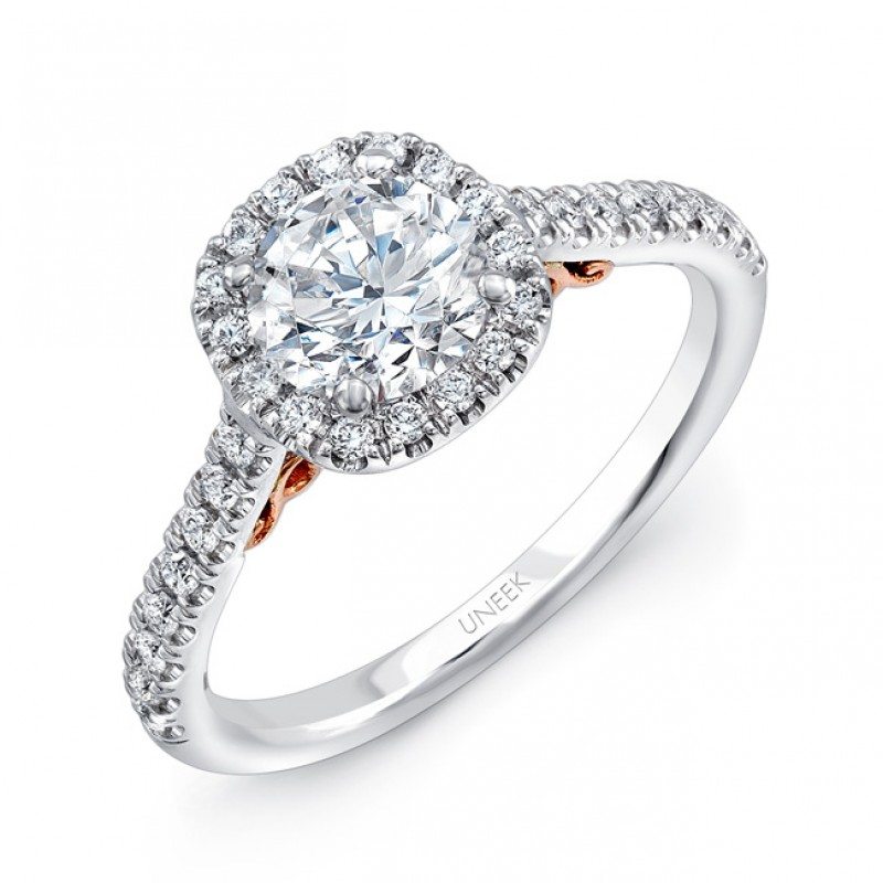 """Uneek """"Fiorire"""" Round Diamond Engagement Ring with Cushion-Shaped Halo and Pave Shank in 14K White"""
