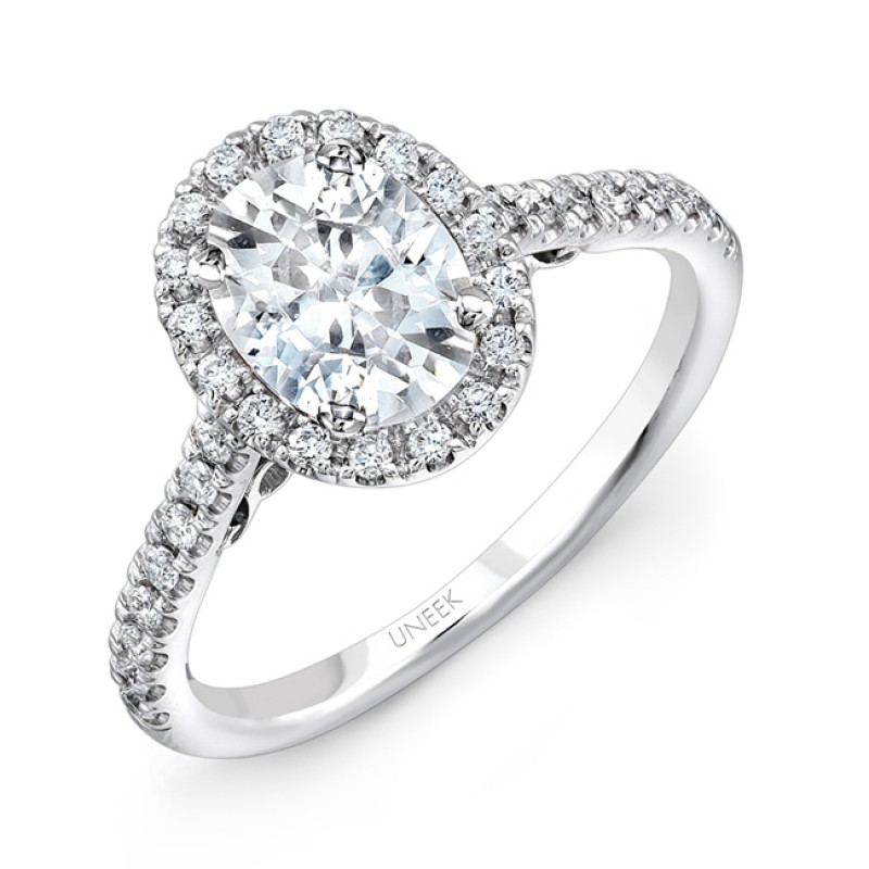 """Uneek """"Fiorire"""" Oval Diamond Halo Engagement Ring with Pave Shank and Under-the-Head Filigree, in 14"""