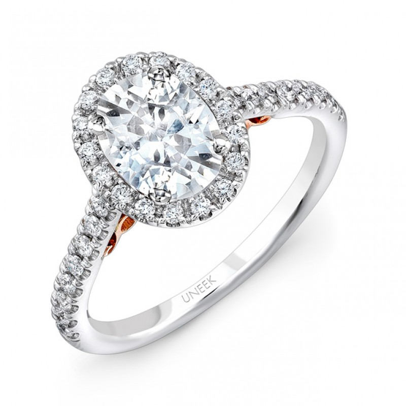"""Uneek """"Fiorire"""" Oval Diamond Halo Engagement Ring with Pave Shank in 14K White Gold, and Under-the-H"""