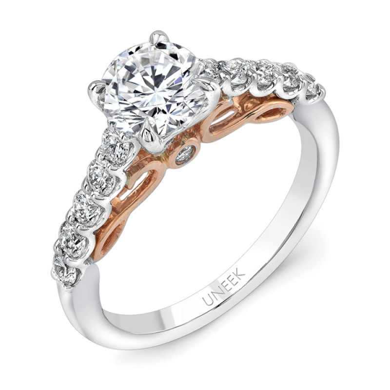 "Uneek ""Serpentina"" Round Diamond Solitaire Engagement Ring with Shared-Prong Shank in 14K White Gold"