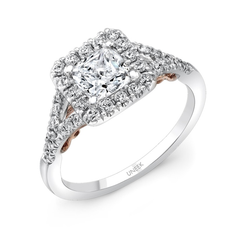 """Uneek """"Cancelli"""" Cushion Diamond Halo Engagement Ring with Pave Split Shank in 14K White Gold, and U"""