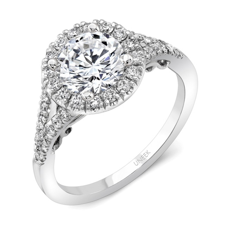 """Uneek """"Cancelli"""" Round Diamond Halo Engagement Ring with Pave Split Shank and Under-the-Head Filigre"""