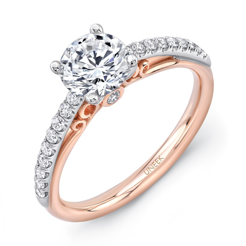 """Uneek """"Naiade"""" Round Diamond Solitaire Engagement Ring with Pave Upper Shank in 14K White Gold, and"""