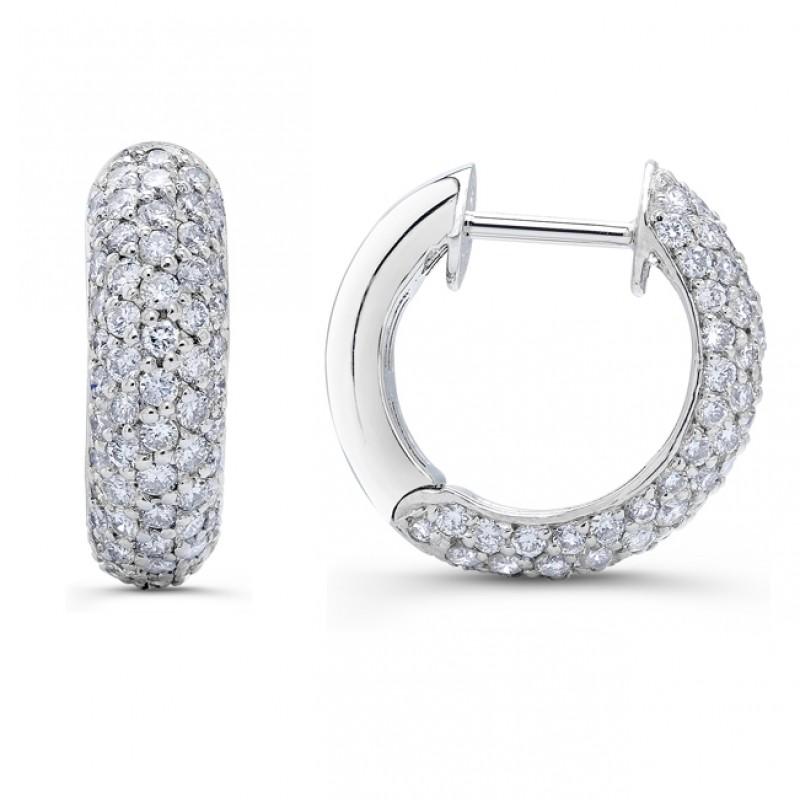 Uneek 18K White Gold Round Diamond Hoop Earrings E105