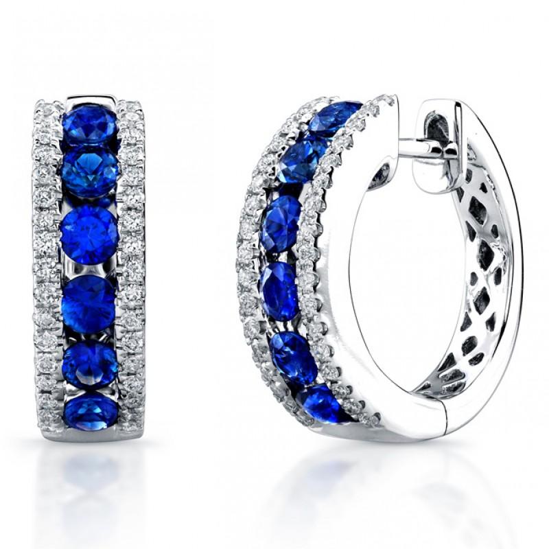 Saphisto Collection 14K White Gold Sapphire Earrings E225