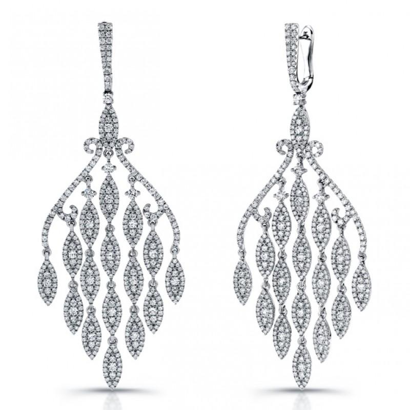 Uneek 18K White Gold and Diamond Chandelier Earrings E226