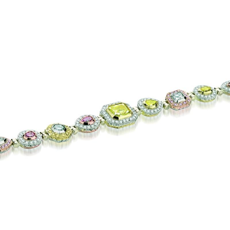 Natureal Collection Platinum/18K Rose Gold/18K Yellow Gold White Yellow Pink Diamond Bracelet LBR026