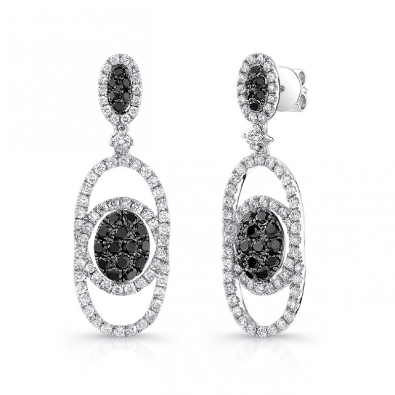 6411bf3a4708d 14K White Gold Black Oval Shaped Diamond Earrings