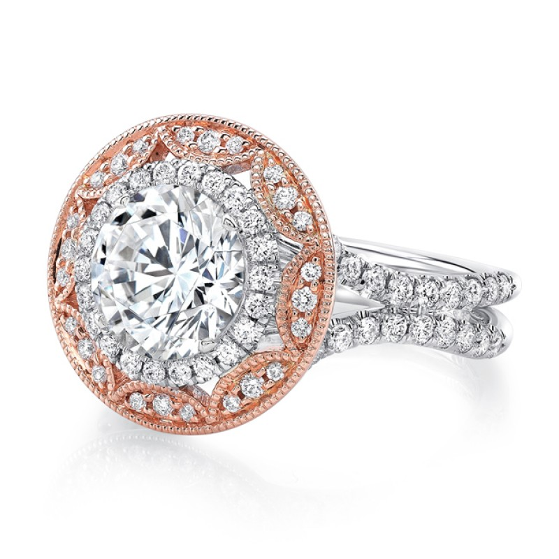 Uneek Vintage-Inspired Round Diamond Engagement Ring with Round Art Deco-Style Double Halo and Pave