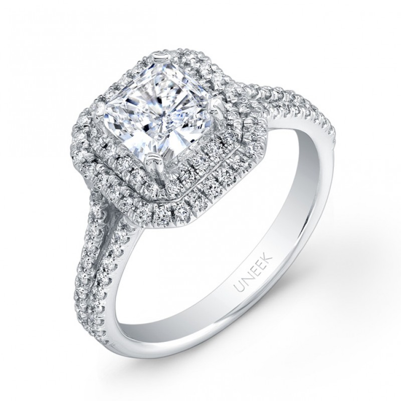 be35cc1b6dba4d Uneek Princess-Cut Diamond Engagement Ring with Dazzling Asscher-Shaped Double  Halo and Split Upper