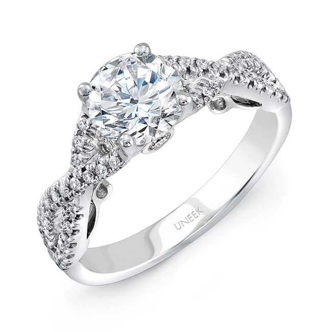 """Uneek """"Paradiso"""" Round Diamond Solitaire Engagement Ring with Pave Infinty/Crisscross Shank and Unde"""
