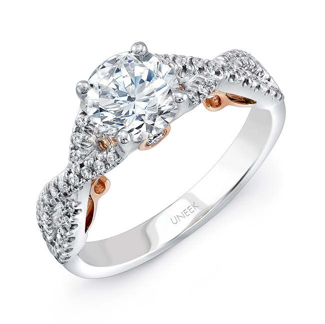 """Uneek """"Paradiso"""" Round Diamond Solitaire Engagement Ring with Pave Infinty/Crisscross Shank in 14K W"""