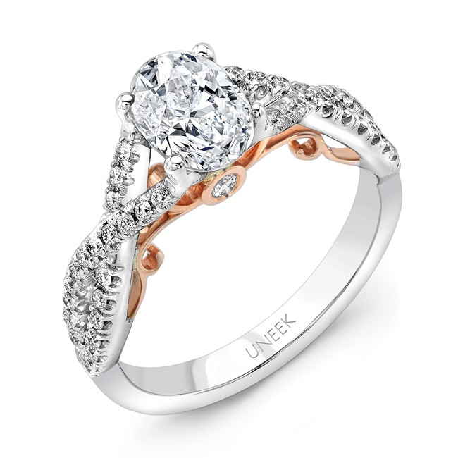 """Uneek """"Paradiso"""" Oval Diamond Solitaire Engagement Ring with Pave Infinty/Crisscross Shank in 14K Wh"""