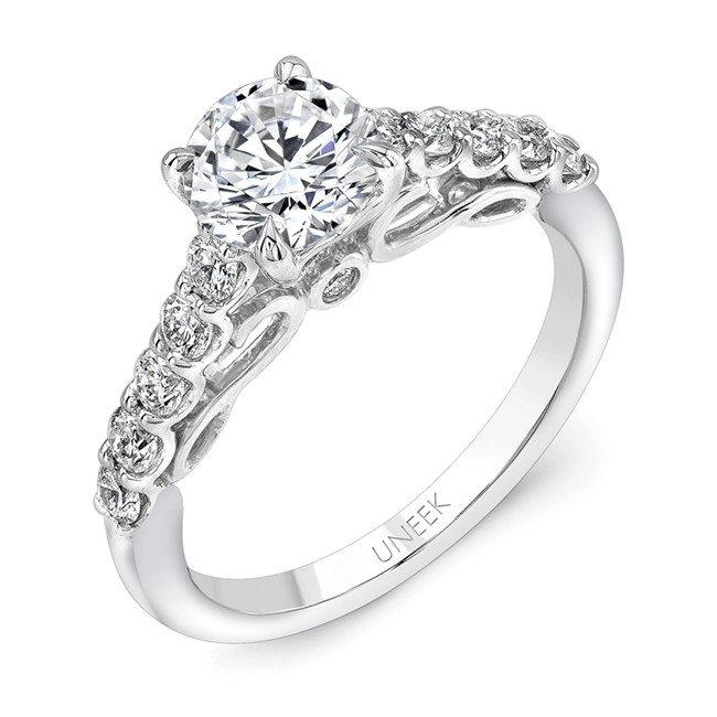 """Uneek """"Serpentina"""" Round Diamond Solitaire Engagement Ring with Shared-Prong Shank and Under-the-Hea"""