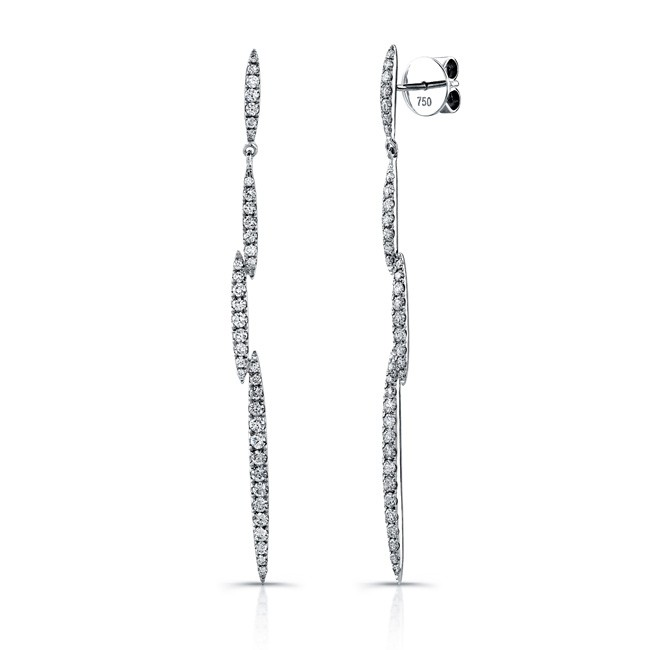 Uneek 18K White Gold and Diamond Dangle Earrings E238