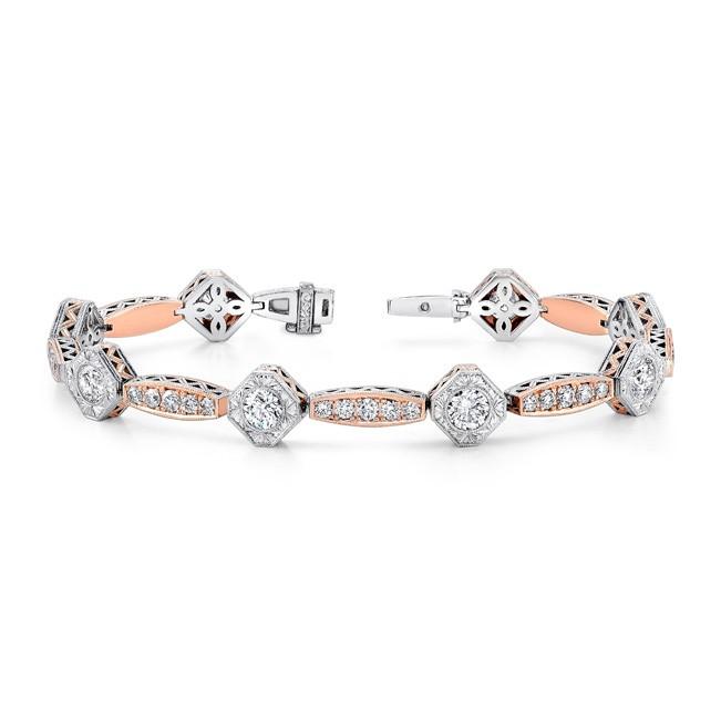 Uneek Art Deco-Style Two-Tone Diamond Bracelet, in 18K Gold