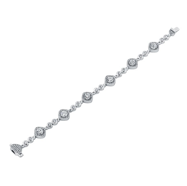 Uneek Round Diamond Bracelet with Tilted Cushion Halos and Swirl-Style Links, in Platinum
