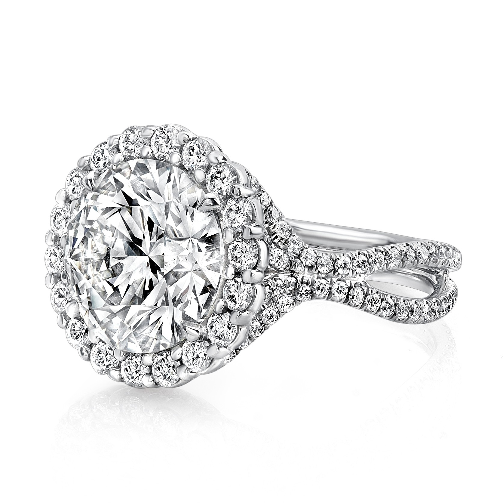 Uneek 5-Carat Round Diamond Halo Engagement Ring with Pave Double Shank, in Platinum