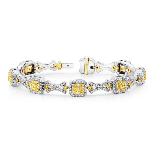 Uneek Natureal Collection Yellow and White Diamond Bracelet LBR170