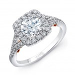 "Uneek ""Cancelli"" Round Diamond Engagement Ring with Cushion-Shaped Halo and Pave Split Shank in 14K"