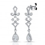 Uneek 18K White Gold Pear Shape Diamond Earrings E216