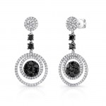 14K White Gold Black Diamond Earrings LVE021BL