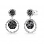 14K White Gold Black Round Shaped Diamond Earrings LVE030BL