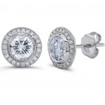 Uneek 18K White Gold Round Diamond Stud Earrings LVE189