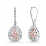 Natureal Collection Platinum & 18K White Gold Pear Shaped Pink Diamond Earrings LVE258
