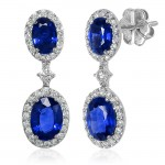 Uneek Royalty-Inspired Blue Sapphire Double Oval Dangle Earrings with Pave Diamond Halos, in 14K Whi