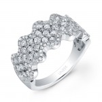 Bouquet Collection 14K White Gold Diamond Wave Band LVR100