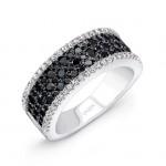 14K White Gold Black Diamond Ring LVR101BL