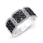 14K White Gold Black Square Diamond Ring LVR102BL