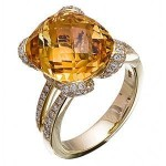 Elegant Zeghani Citrine and Diamond Ring