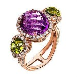 Handsome Zeghan Amethyst and Peridot Fashion Ring
