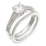 Elegant Diamond Band and Engagement Ring Set by Zeghani