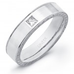Uneek Men's 18K White Gold Princess-cut Diamond Ring WB176