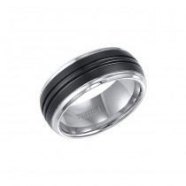 Triton Black And White Tungsten Carbide Comfort Fit Band 11-01-4148