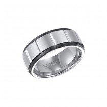 Triton Black And White Tungsten Carbide Comfort Fit Band 11-01-4149