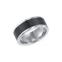 Triton Black And White Tungsten Carbide Comfort Fit Band 11-01-4150