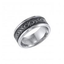 Triton Black And White Tungsten Carbide Comfort Fit Band 11-01-4208