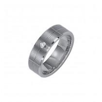 Triton 7mm Tungsten Carbide Bevel Edge Comfort Fit Diamond Band 21-2210
