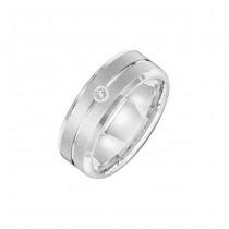Triton 7mm White Tungsten Carbide Bevel Edge Comfort Fit Diamond Band 21-2213