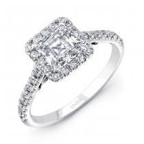 "Uneek ""Fiorire"" Princess-Cut Diamond Engagement Ring with Squale Halo, Pave Shank and Under-the-Hea"