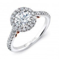 "Uneek ""Fiorire"" Round Diamond Halo Engagement Ring with Pave Shank in 14K White Gold, and Under-the-"