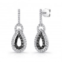 14K White Gold Black Inverse Pear Shaped Diamond Earrings LVE034BL