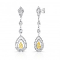 Natureal Collection Platinum & 18K Yellow Gold Pear Shaped Yellow Diamond Earrings LVE171