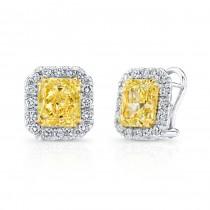Uneek Natureal Fancy Yellow Radiant Diamond Earrings LVE273